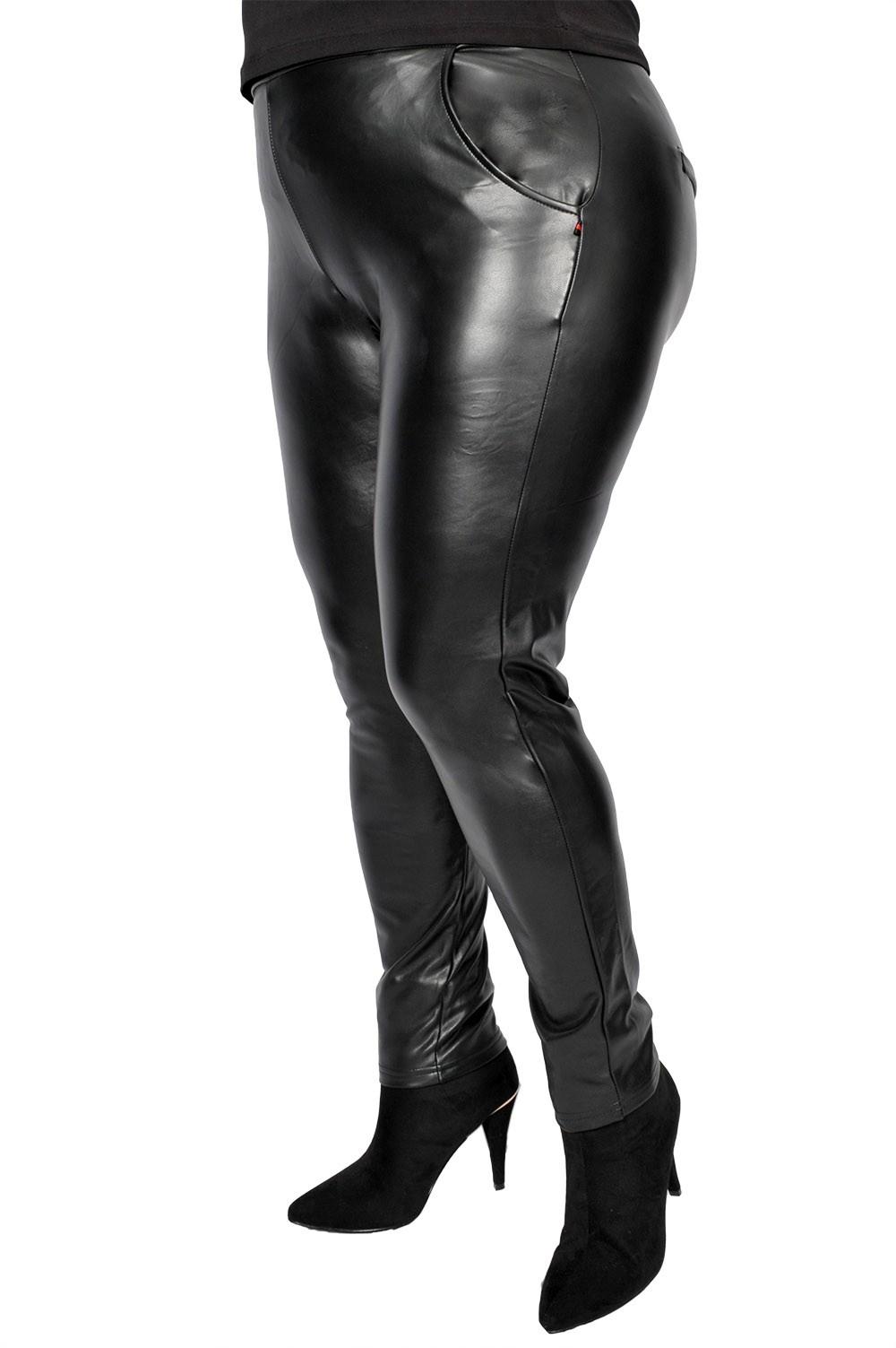 Pantaloni mulati, piele ecologica, model 11708